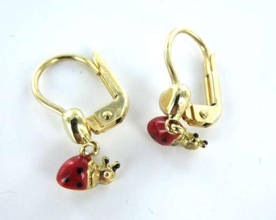 Vintage 14KT YELLOW GOLD EARRINGS LADYBUG LADY BUG RED BLACK 1.1DWT FINE JEWELRY HEART