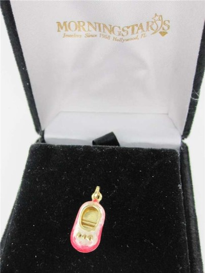 Vintage 14KT YELLOW GOLD PENDANT BABY SHOE PINK .9DWT BOW CHARM MADE IN ITALY NEW BORN