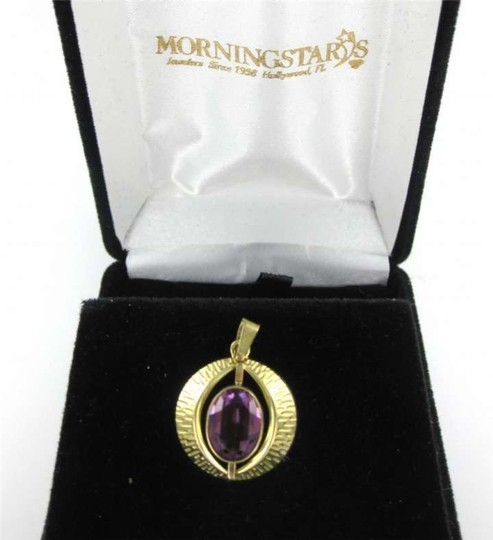 Vintage 10KT YELLOW GOLD PENDANT CHARM AMETHYST 1.7DWT 333 K&L GOOD LUCK EYE ENERGY