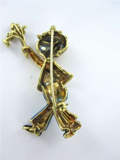 Vintage GIRL WITH FLOWER PIN BROOCH 18K YELLOW GOLD ENAMEL STONE VINTAGE COLLECTORS
