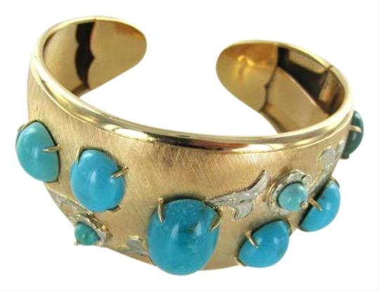 Vintage 18KT YELLOW GOLD BRACELET BANGLE ANTIQUE VINTAGE TURQUOISE 31.3DWT CUFF SIGN DCF
