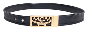 MCM MCM Leather Belt With Gold Hardware