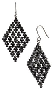 Ralph Lauren Ralph Lauren Black Crystal Pave Mesh Hematite-Tone Drop Earrings
