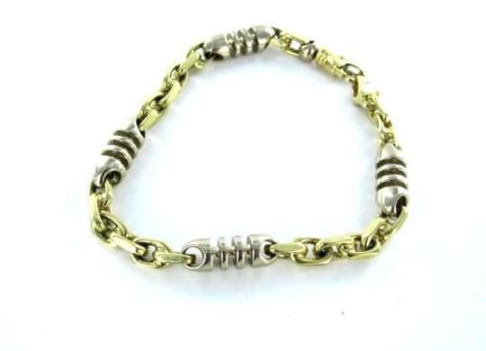Vintage TIVOLI 14K WHITE & YELLOW GOLD BRACELET LOBSTER LINK BANGLE 21.7DWT FINE JEWELRY