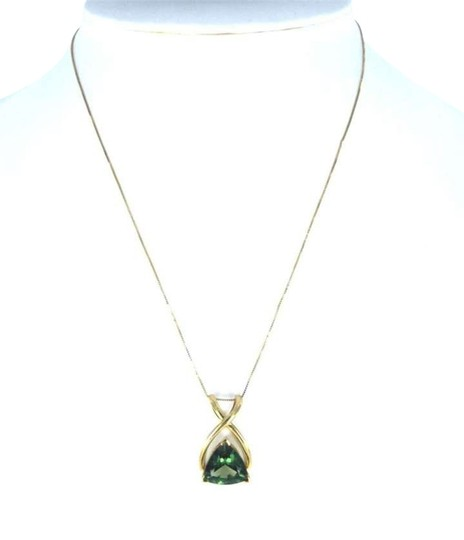 Vintage 14K YELLOW GOLD 18 INCH NECKLACE BIG GREEN PRECIOUS STONE PENDANT SET LOT JEWEL