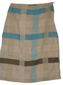 French Connection Checkered Skirt Blue/cream/brown