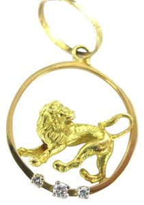 Vintage 14KT YELLOW GOLD PENDANT LION 3 DIAMOND 3D 4.0DWT CHARM CIRCLE ANIMAL LEO ZODIAC