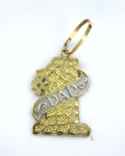 Vintage 14K YELLOW GOLD PENDANT #1 DAD FATHER'S DAY CHARM MEN FINE JEWELRY GIFT CONGRATS