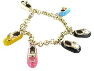 14KT YELLOW GOLD BRACELET ITALY CHARM 6 BABY SHOE BOOT MARY JANE PJ SOCK PENDANT