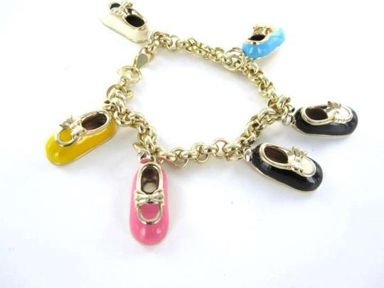 Other 14KT YELLOW GOLD BRACELET ITALY CHARM 6 BABY SHOE BOOT MARY JANE PJ SOCK PENDANT