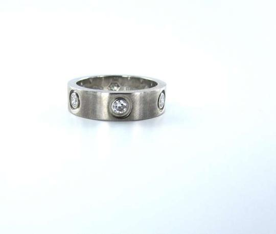 Vintage CARTIER 18KT WHITE GOLD 6 DIAMOND RING WEDDING BAND LOVE SZ 6 JEWELRY 5.3DWT