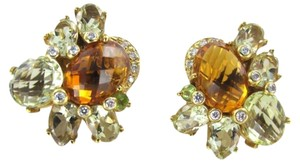 Vintage 18KT YELLOW GOLD CITRINE EARRINGS 20 DIAMONDS 14.0DWT FINE JEWELRY LUXURY WOMAN