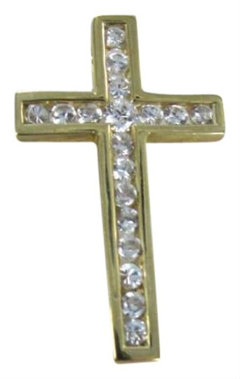 Vintage 14KT YELLOW GOLD CROSS WHITE STONE PENDANT CHRIST CATHOLIC SPIRITUAL CHARM FAITH