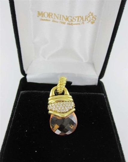 Vintage 18KT YELLOW GOLD PENDANT DAVID YURMAN CITRINE 32 DIAMOND 11.0DWT DESIGNER LUXURY