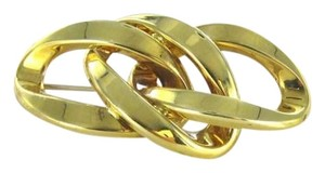 Vintage 18K YELLOW GOLD PIN BROOCH TRIPLE LINK MADE IN ITALY 4.4DWT TRI-LINK DESIGNER