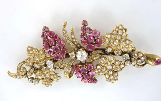 Vintage 18KT YELLOW GOLD VINTAGE PIN BROOCH DIAMOND RUBY 21.7GRAMS FLOWER ANTIQUE GRAPES