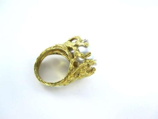 Vintage 18KT YELLOW GOLD 3 MEDIUM PEARL 4 DIAMOND .40ATW RING SZ 6.5 COCKTAIL 14.6DWT