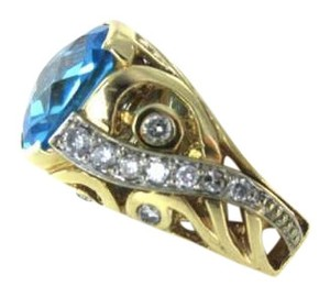 14K YELLOW GOLD BLUE TOPAZ YEAR 2000 20 DIAMOND 2.6 GRAMS COCKTAIL LUXURY DESIGN