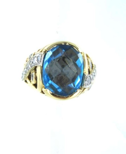 Other 14K YELLOW GOLD BLUE TOPAZ YEAR 2000 20 DIAMOND 2.6 GRAMS COCKTAIL LUXURY DESIGN