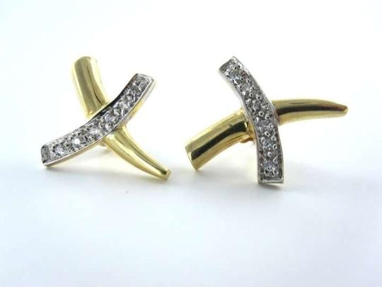Vintage 14KT YELLOW GOLD EARRINGS 12 DIAMONDS X DESIGN 2.2DWT HIGH END LUXURY JEWELRY