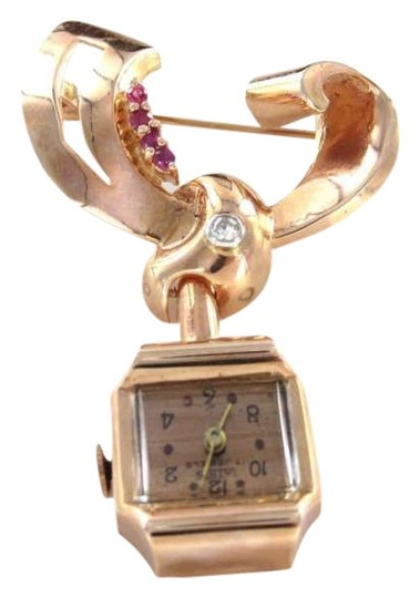 Preload https://img-static.tradesy.com/item/351613/rose-gold-14kt-pin-watch-brooch-antique-diamond-ruby-lathin-0-0-540-540.jpg
