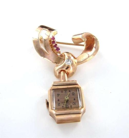Vintage 14KT ROSE GOLD PIN WATCH BROOCH ANTIQUE DIAMOND RUBY LATHIN JEWELERS VINTAGE