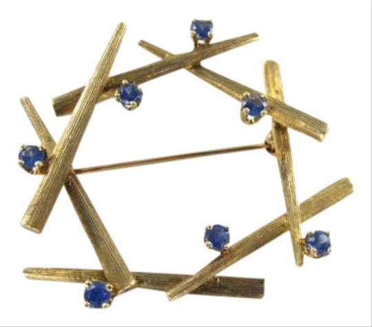 Vintage 14KT YELLOW GOLD VINTAGE PIN BROOCH 7 SAPPHIRES BARK DESIGN PORUM JLRY DESIGNER