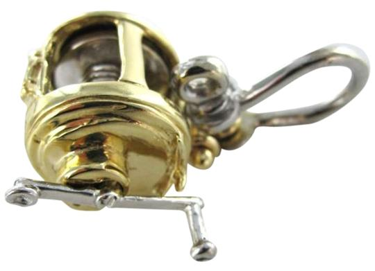 Vintage HEAVY 14KT YELLOW AND WHITE GOLD MOVEABLE FISHING REEL PENDANT 29.9GR FISH SPORT