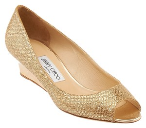 Jimmy Choo Baxen Glitter Lame Peep Toe Gold Wedges