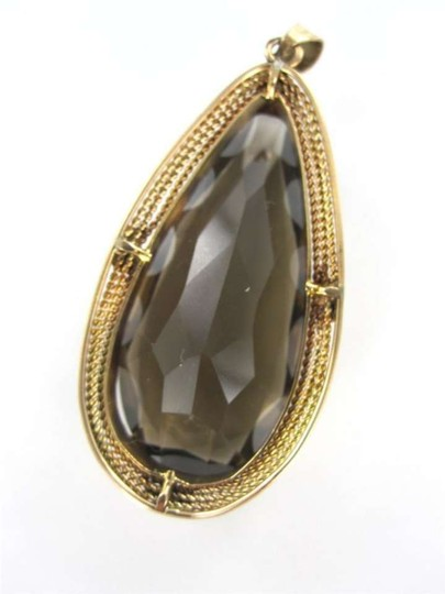 Vintage 14KT ROSE GOLD PENDANT SMOKEY TEAR TOPAZ BIG 8.9DWT CABLE 3D LEAVES JEWELRY