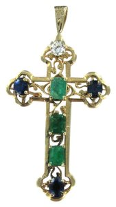 Vintage 14KT YELLOW GOLD PENDANT CROSS SAPPHIRE DIAMOND STONES CHRISTIAN EASTER CHARM