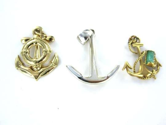 Vintage 14K YELLOW GOLD PENDANT MARINER ANCHOR BOAT EAGLE STONE BOAT BLESSING 2.8DWT