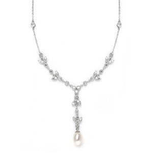 Mariell Silver Freshwater Pearl Cubic Zirconia Tulip 3638n Necklace