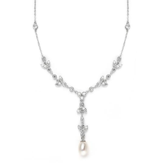 Mariell Freshwater Pearl & Cubic Zirconia Tulip Wedding Necklace 3638n