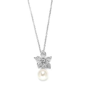 Mariell Vintage Floral Pearl Drop Wedding Pendant Necklace 3640n