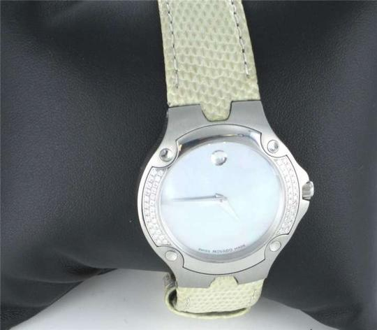 Swiss Movado LADIES MOVADO SPORT EDITION WATCH 1881 DIAMOND BEZEL LIZARD BEIGE LEATHER BAND