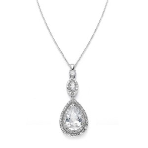 Mariell Silver Cubic Zirconia Pendant with Framed Pear 3755n Necklace