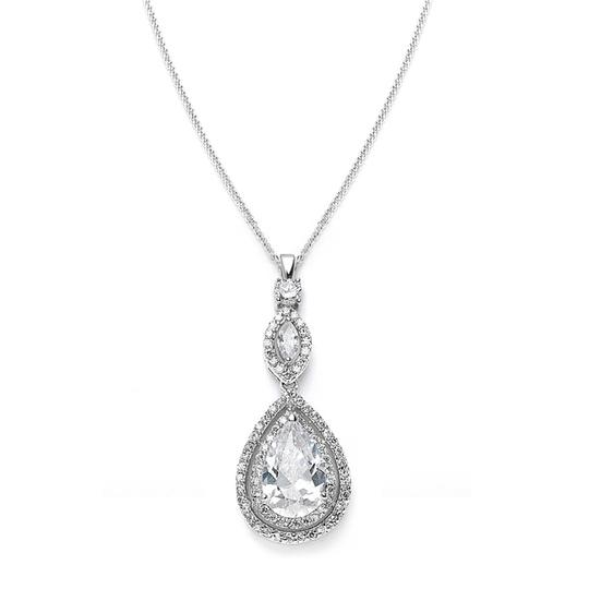 Mariell Silver Cubic Zirconia Pendant with Pear 3755n Necklace