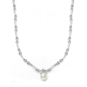 Mariell Sleek Designer Pearl & Cubic Zirconia Wedding Necklace 3827n