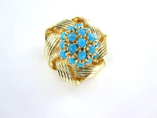 Vintage 14K YELLOW GOLD PIN BROOCH FLOWER TURQUOISE BLUE STONES 6.0DWT VINTAGE RETRO