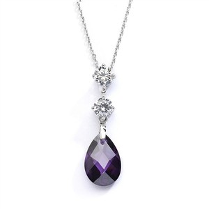 Mariell Cz Bridal Or Bridesmaids Necklace Pendant With Amethyst Crystal Drop 4078n-am