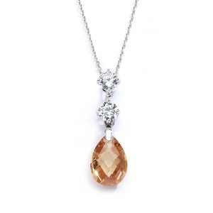 Mariell Cz Bridal Or Bridesmaids Necklace Pendant With Champagne Crystal Drop 4078n-ch