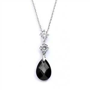 Mariell Silver/Black Cz Or Bridesmaids Pendant with Jet Crystal Drop 4078n-je Necklace
