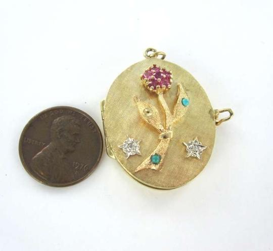 Vintage 14K GOLD PENDANT LOCKET PICTURE RUBY VINTAGE DIAMOND TO MOTHER FROM THE CHILDREN