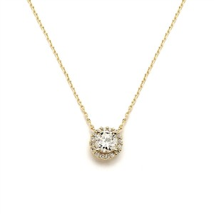 Mariell Delicate Cubic Zirconia Gold Pave Bridal Necklace 4095n