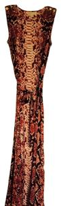Burnt Red Snakeskin Print Maxi Dress by Michael Kors