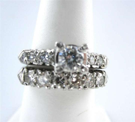 Vintage 14KT WHITE GOLD ROUND DIAMOND .35CT WEDDING RING + 10 DIAMONDS ENGAGMENT SET LOT