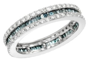 Krementz KREMENTZ 14KWhite Gold Band Ring 1.39ctw Fancy Blue enhanced Diamonds 3.5g Size 7.5