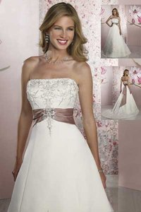 Forever Yours Ivory/Coffee 49108 Formal Wedding Dress Size 24 (Plus 2x)