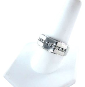 Vintage 14KT WHITE GOLD MEN RING 7.8DWT FATHER DAY 9 DIAMOND .48ct SZ 11 MASCULINE SEXY